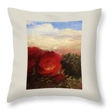 Throw Pillow featuring the painting Rosebush by Mary Ellen Frazee