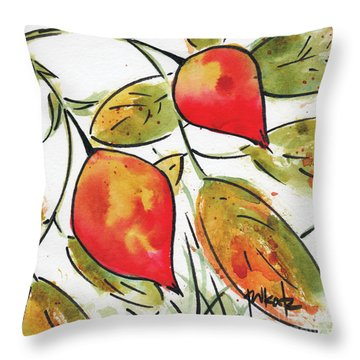 Rosehips In Autumn Throw Pillow