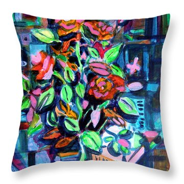 Roses Abstract Throw Pillow by Mindy Newman