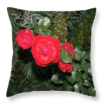 Roses Among Throw Pillow