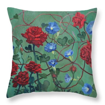 Roses And Morning Glories Throw Pillow