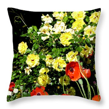 Roses And Poppies Throw Pillow by Teresa Mucha