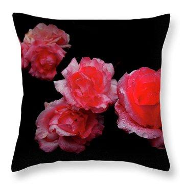 Roses And Rain Throw Pillow