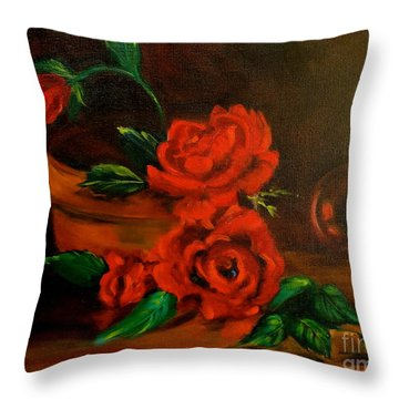 Throw Pillow featuring the painting Roses Are Red by Jenny Lee