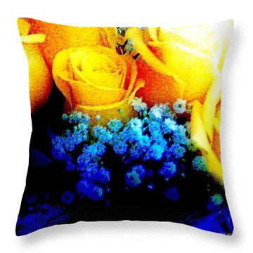 Roses Are Yellow Throw Pillow
