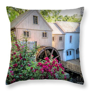 Roses At The Plimoth Grist Mill Throw Pillow