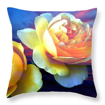 Roses Basking In A Ocean Sunset Throw Pillow