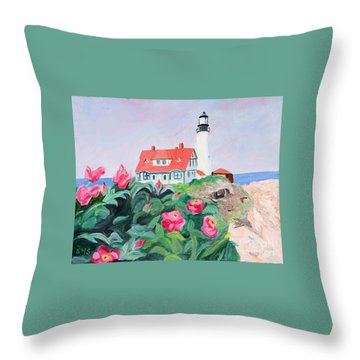 Roses At Portland Headlight Throw Pillow