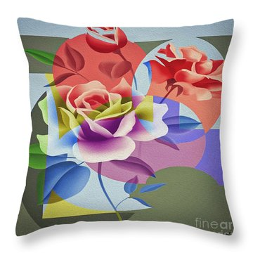 Throw Pillow featuring the digital art Roses For Her by Eleni Mac Synodinos