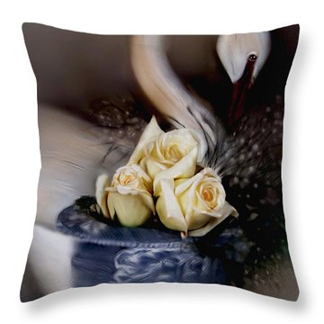 Throw Pillow featuring the painting roses for Susan by Bonnie Willis