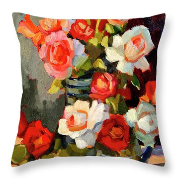 Roses From My Garden Throw Pillow by Diane McClary