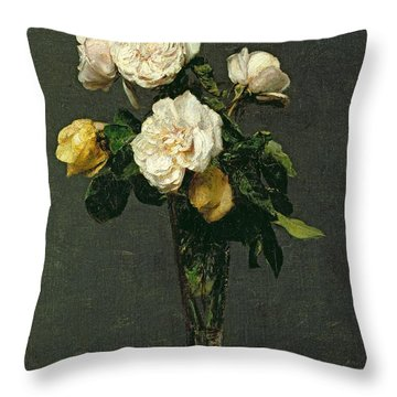 Roses In A Champagne Flute Throw Pillow by Ignace Henri Jean Fantin-Latour