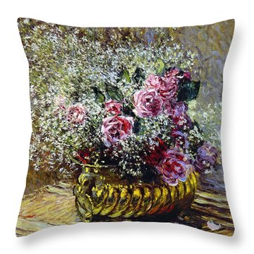 Roses In A Copper Vase Throw Pillow