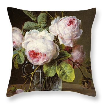 Roses In A Glass Vase On A Ledge Throw Pillow