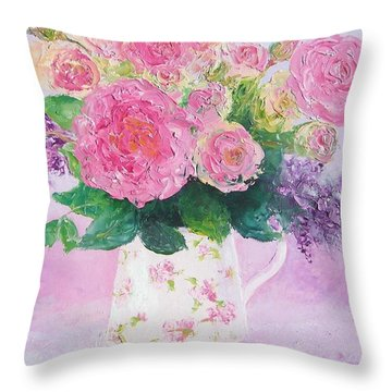 Roses In A Pink Floral Jug Throw Pillow