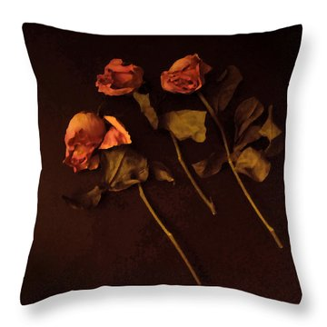 Roses In Amber Light Throw Pillow by Cedric Hampton