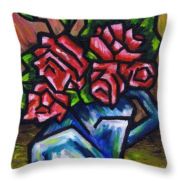 Roses In Blue Vase Throw Pillow by Kamil Swiatek