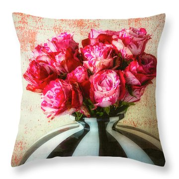 Roses In Large Black And White Vase Throw Pillow