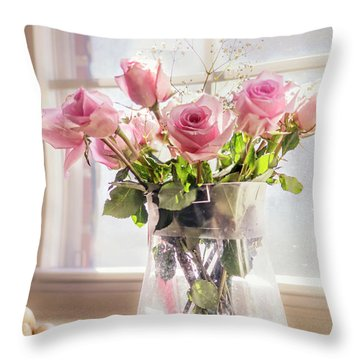 Roses In The Kitchen Throw Pillow