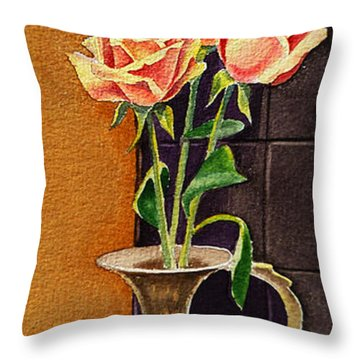 Roses In The Metal Vase Throw Pillow