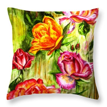 Throw Pillow featuring the painting Roses In The Valley  by Harsh Malik