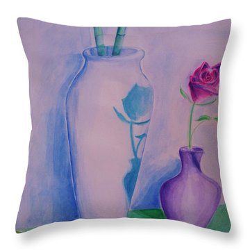 Throw Pillow featuring the painting Roses  In Vase by Eric  Schiabor