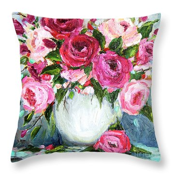 Throw Pillow featuring the painting Roses In Vase by Jennifer Beaudet
