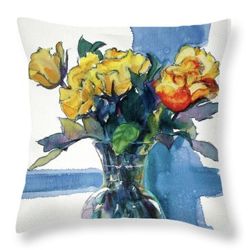 Roses In Vase Still Life I Throw Pillow