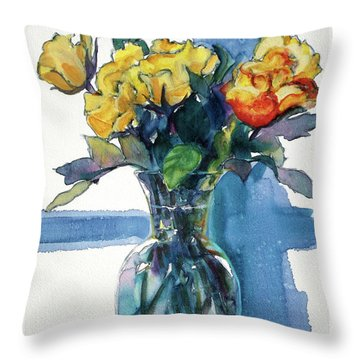 Roses In Vase Still Life I Throw Pillow by Kathy Braud