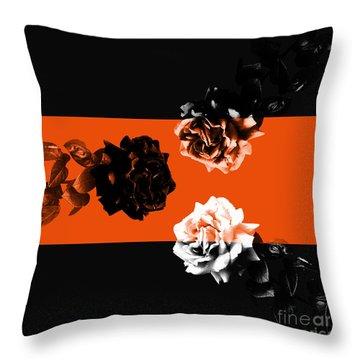 Roses Interact With Orange Throw Pillow