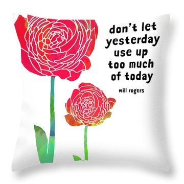 Throw Pillow featuring the painting Roses by Lisa Weedn