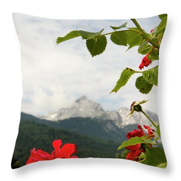 Throw Pillow featuring the photograph Roses Of The Zugspitze by KG Thienemann