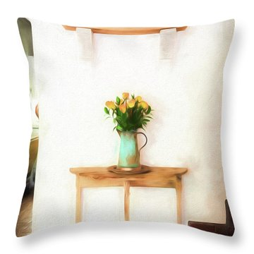 Rose's On Table Throw Pillow