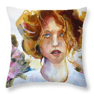 Throw Pillow featuring the painting Roses by P Maure Bausch