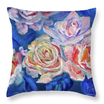 Roses, Roses On Blue Throw Pillow