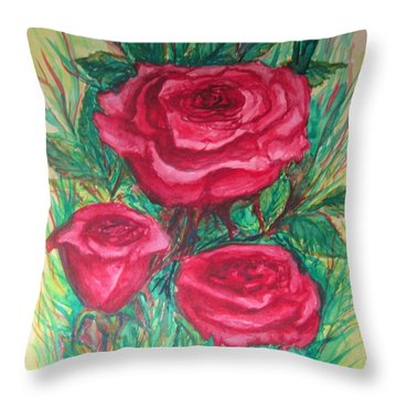 Roses Three Throw Pillow