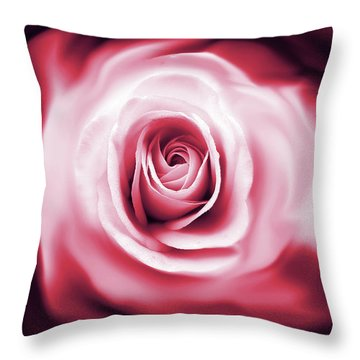 Rose's Whispers Magenta  Throw Pillow by Jennie Marie Schell