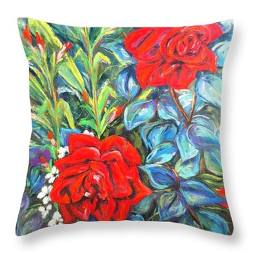 Roses With Baby Breath Throw Pillow