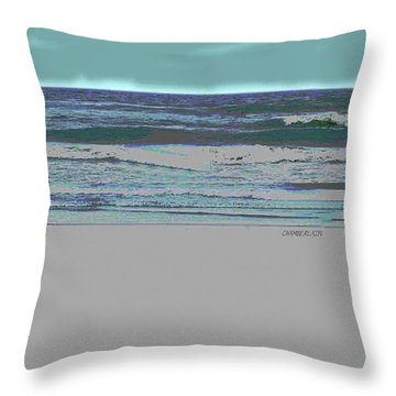 Rosie On The Beach Throw Pillow by Walter Chamberlain