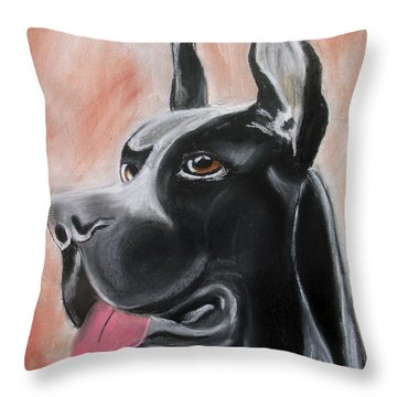 Rosie The Great Dane Throw Pillow by Arlene  Wright-Correll