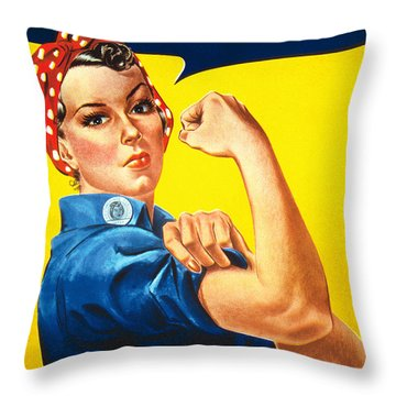 Rosie The Riveter Vintage  Throw Pillow