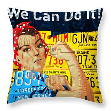 Rosie The Riveter We Can Do It Promotional Poster Recycled License Plate Art Throw Pillow