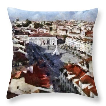 Throw Pillow featuring the photograph Rossio Square by Dariusz Gudowicz