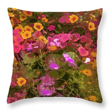 Rosy Garden Throw Pillow