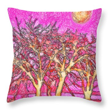 Throw Pillow featuring the digital art Rosy Hued Trees - Boulder County Colorado by Joel Bruce Wallach