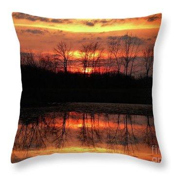 Rosy Mist Sunrise Throw Pillow