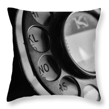 Rotary Dial In Black And White Throw Pillow by Mark Miller