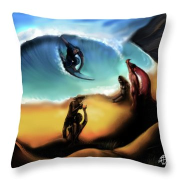 Rotatable Artwork Beach And Scarlett Throw Pillow