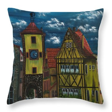 Throw Pillow featuring the painting Rothenburg Ob Der Tauber by The GYPSY And DEBBIE
