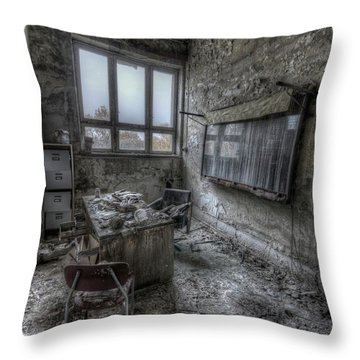 Throw Pillow featuring the digital art Rotten Office by Nathan Wright